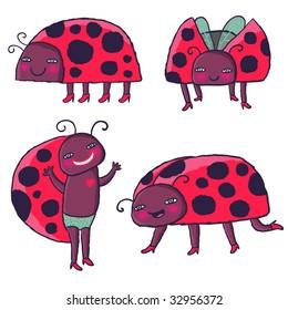 cartoon ladybirds vector set