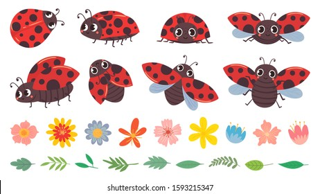 Cartoon ladybug. Cute ladybugs with flowers and leaves, red bug and insects vector illustration set. Funny lady bugs, flower buds and foliage pack. Dotted flying beetle stickers collection