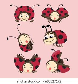 Cartoon ladybug vector set.