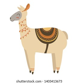 Cartoon lama indian. Vector illustration of a cute lama in a headdress with feathers. Drawing animal for children. Zoo for kids.