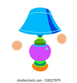 Cartoon lamp flat icon. The vector illustration for ui, web games, tablets, wallpapers, and patterns.