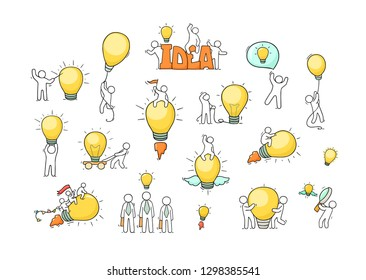 Cartoon lamp ideas with little people. Comic hand drawn collection with workers. Vector isolated on white background.