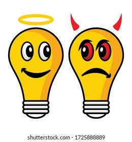 Cartoon lamp illustration flat design angel and demon emoticon