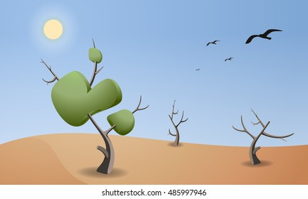 Cartoon landscape of desert for game design