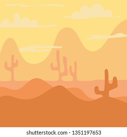 Cartoon landscape for game design, soft nature background -desert