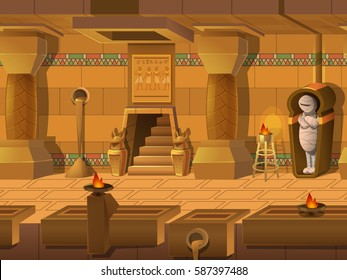 Cartoon landscape inside Egyptian tomb, vector unending background with separated layers for game.