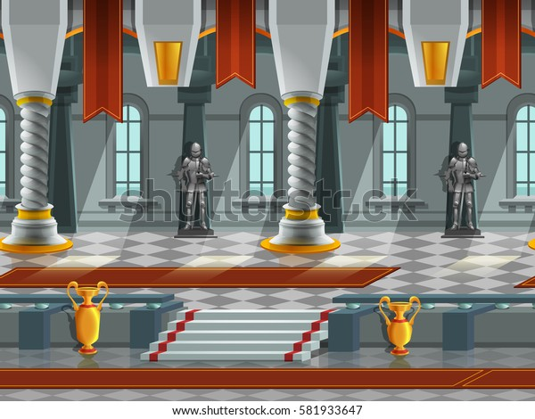 Cartoon landscape inside knight castle, vector unending background with separated layers for game.