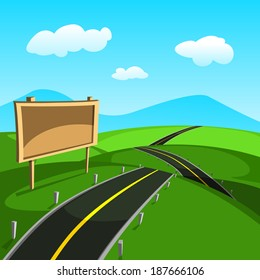 Cartoon landscape road in the summer.