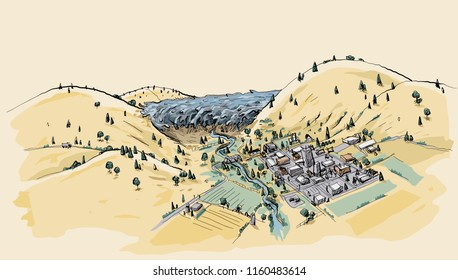 A cartoon landscape showing flood waters surging through a valley towards a small town.