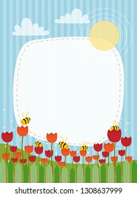 Cartoon landscape of Spring field with red and orange tulips and family bee flying, illustration of cute honey Bee collecting pollen on flowers in summer on blue stripe Spring or Summer background