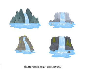 Cartoon landscapes with mountains and trees. River waterfall falls from cliff on white background. Picturesque tourist attraction with small waterfall and clear water. Vector illustration.