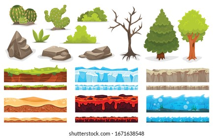Cartoon landscapes plants stones reliefs for game user interface isolated set vector illustration