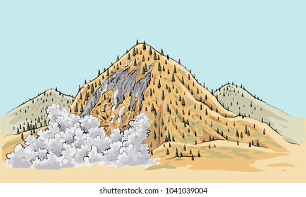 A cartoon landslide on a small mountain in the remote wilderness.