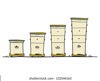 Cartoon langstroth Hive. capacity increase process
