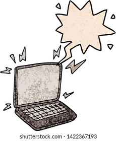 cartoon laptop computer with speech bubble in retro texture style