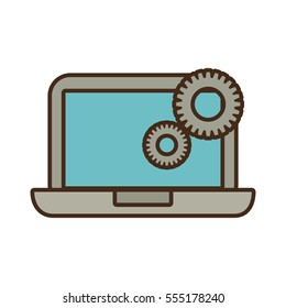 cartoon laptop technology gears colaboration work vector illustration eps 10