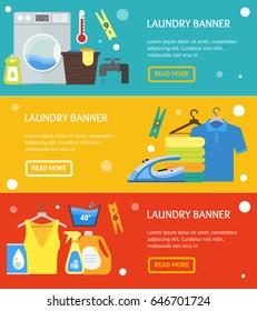 Cartoon Laundry Banner Horizontal Set. Washing and Ironing Housework Flat Design Style Vector illustration