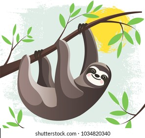 Cartoon lazy Hanging Sloth in a rain forest  on a tree branch. Funny childish character. Stylized Flat style Vector Illustration.