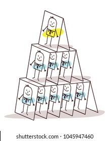 Cartoon Leadership and Cards Pyramid