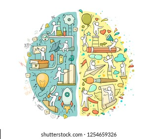 Cartoon Left and right brain functions with little people. Doodle vector illustration for psychology and creative design.