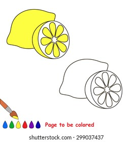 Cartoon lemon  to be colored. Coloring book for children.