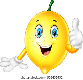 Cartoon lemon giving thumbs up