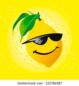 Cartoon lemon in glasses. vector character