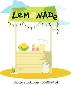 Cartoon lemonade stand with fresh lemons and a pitcher, EPS 8 vector illustration, no transparencies