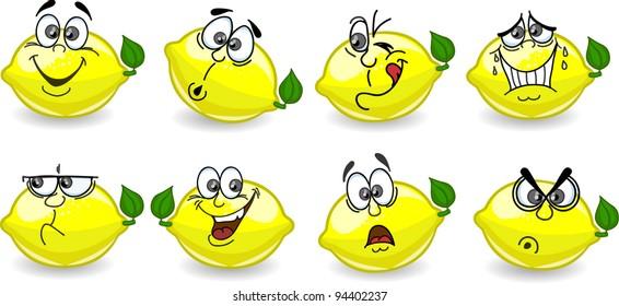 Cartoon lemons with emotions