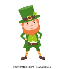 Cartoon Leprechaun in green frock coat and top hat with four-leaf clover. Saint Patrick´s Day card. Vector illustration. Traditional Irish holiday character. Isolated on white background