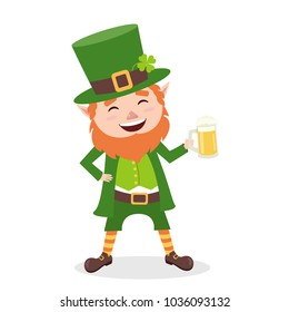 Cartoon Leprechaun in green frock coat and top hat with mug of light beer. Saint Patrick´s Day card. Vector illustration. Traditional Irish holiday character. Isolated on white background