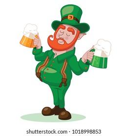 Cartoon leprechaun holding two beers. EPS10 vector illustration.