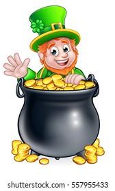 A cartoon Leprechaun St Patricks Day character peeking over a pot of gold and waving