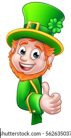 Cartoon Leprechaun St Patricks Day character peeking around a sign and giving a thumbs up