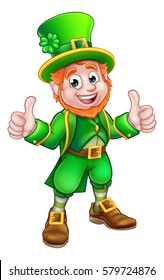 A cartoon Leprechaun St Patricks Day character giving a double thumbs up