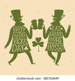 Cartoon leprechauns silhouettes with beer. Including retro style lettering and old style grungy background. Patrick's Day illustration with greeting.