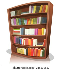Cartoon Library Bookshelf/ Illustration of a cartoon home, school or library store wooden bookshelf, full of books
