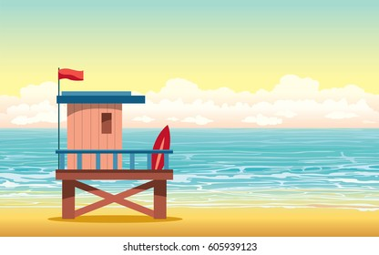 Cartoon lifeguard house on cloudy sunset sky and blue sea in background. Summer vector illustration.