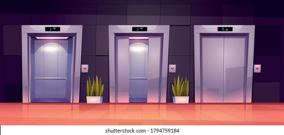 Cartoon lift doors, hallway with closed, slightly ajar and open elevator gates. Empty office lobby interior with passenger or cargo cabins, button panel and floor indicator on wall vector illustration