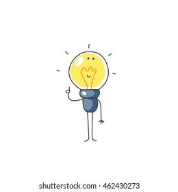 Cartoon light bulb have an idea. Isolated background