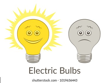 Cartoon Light Electric Bulbs, Glowing and Dark, Smiling and Sad Isolated On White Background. Vector