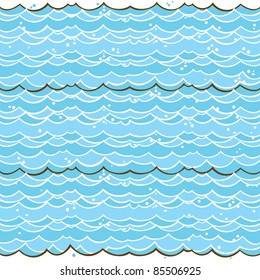Cartoon light-blue water seamless pattern. Hand drawn vector theme. Good for backgrounds, fabric, kitchen and cafe stuff