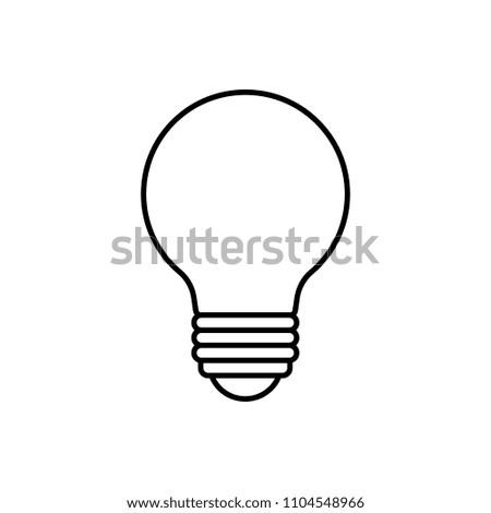 Cartoon Lightbulb Black Line White Background Stock Vector Royalty