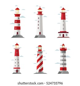 Cartoon lighthouse icons. Vector beacon or pharos set for sea security vector illustration. Set of striped lighthouses, sea beacon for security and navigation
