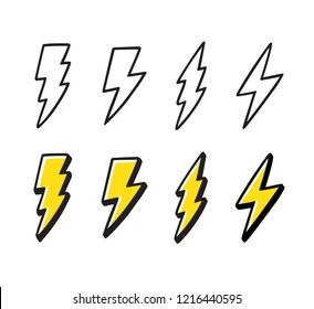 Cartoon lightning doodle set. Hand drawn thunder bolts, black line art and color. Vector illustration collection, isolated on white background.