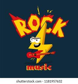"Cartoon lightning playing on the guitar. Caption "" Rock music"""