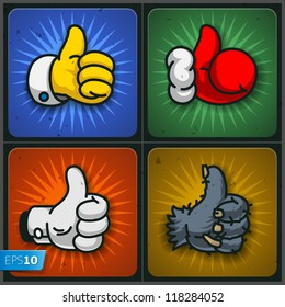 Cartoon Like/Thumbs Up symbols set, vector Eps10 illustration.