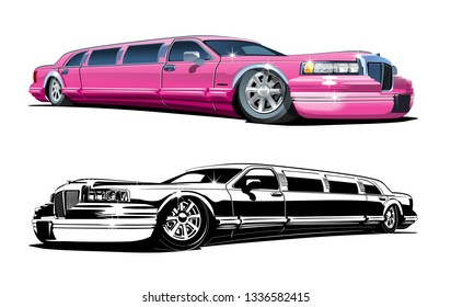 Cartoon limousines set isolated on white background. Available EPS-10 vector format separated by groups and layers for easy edit