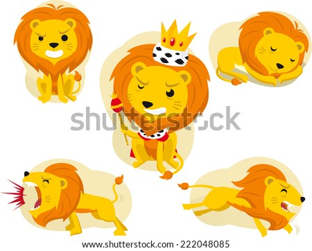 Cartoon lion action set, king of the jungle. Wit lion illustrations in many poses