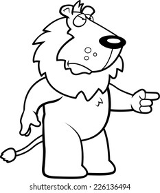 A cartoon lion with an angry expression.